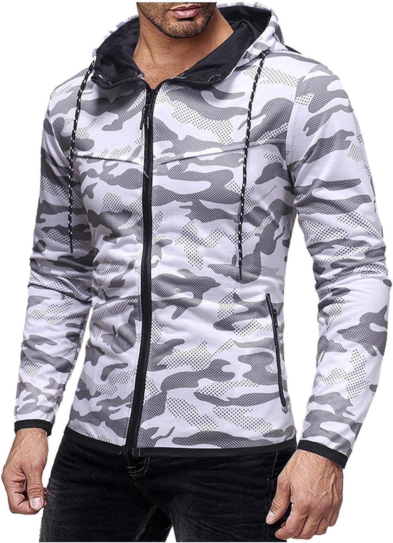 Aayomet Men's Pullover Hoodies Comouflag Zipper Long Sleeve Hooded Sweatshirts Casual Workout Sport Blouses Tops Sweaters