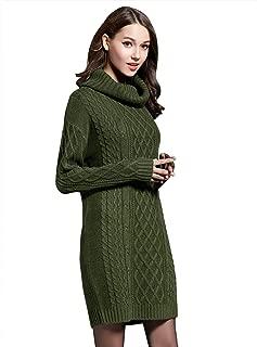 LOMON Women's Sweater Dress Cable Knit Slim Fit Turtleneck Sweater Pullover Sweater Dress
