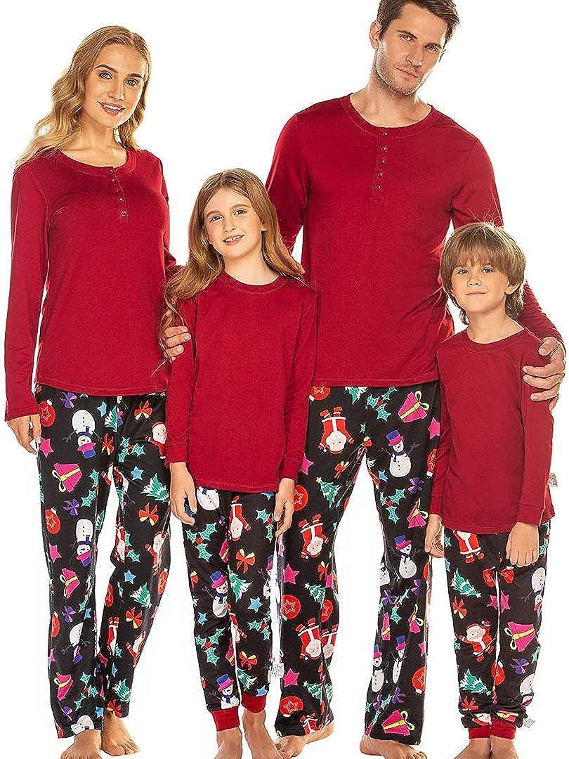 Ekouaer Matching Family Pajamas Christmas Santa Claus Sleepwear Cotton Kids PJs Men's Sleepwear