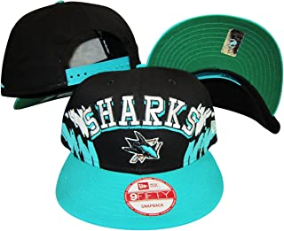 San Jose Sharks Black/Teal Two Tone Plastic Snapback Adjustable Plastic Snap Back Hat/Cap