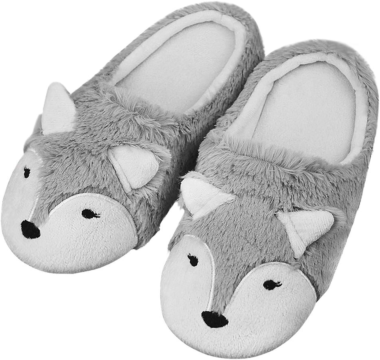 Fakeface Cute 3D Fox Coral Fleece Slippers Thermal Antiskid Winter House Slippers for Women Teen Girls