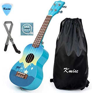 Kmise Soprano Ukulele 21 pulgadas Instrumento de regalo para niños con cuerda de sintonizador de bolsa de transporte (blue)