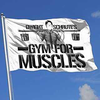Sisa Dwight Schruteâ€s Gym for Muscles 3x5 Foot Flag Outdoor Flags 100% Single-Layer Translucent Polyester 3x5 Ft