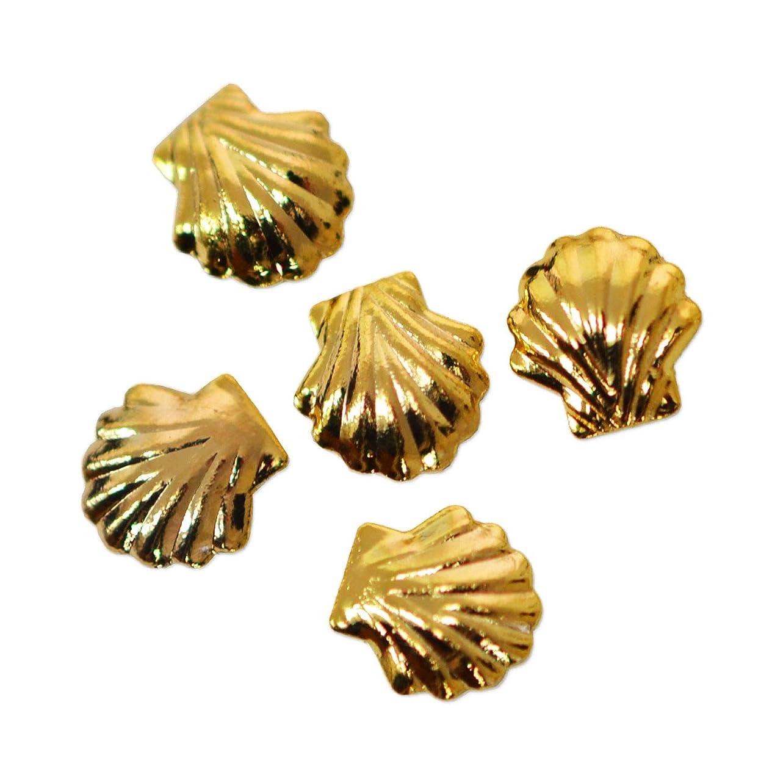 パッケージ仮定する曖昧なメタルパーツ シェル ゴールド 5ミリ 30粒 ネイルパーツ 貝殻 メタルシェル シェルメタル gold