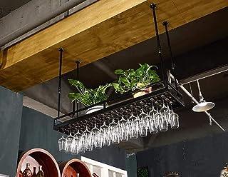 HZWLF Plafond Porte-Verre à vin Rouge Barre Suspendue Porte-Verre Haute Hauteur réglable Rangement de casier à vin Noël