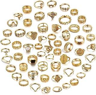 64 Pcs Vintage Knuckle Rings Set Stackable Finger Rings...