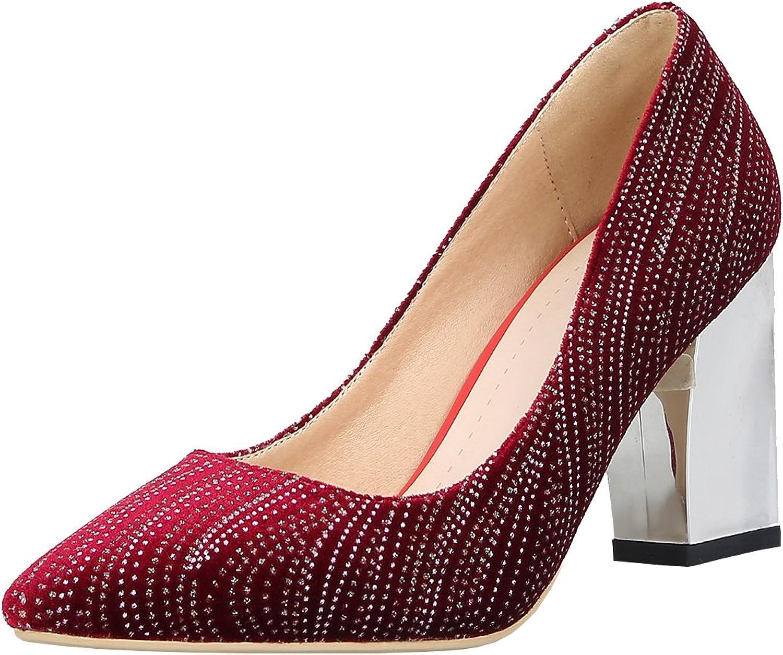 Artfaerie Women's Block High Heel Rhinestones Court shoes Pointed Toe Elegant Work Dress Pumps