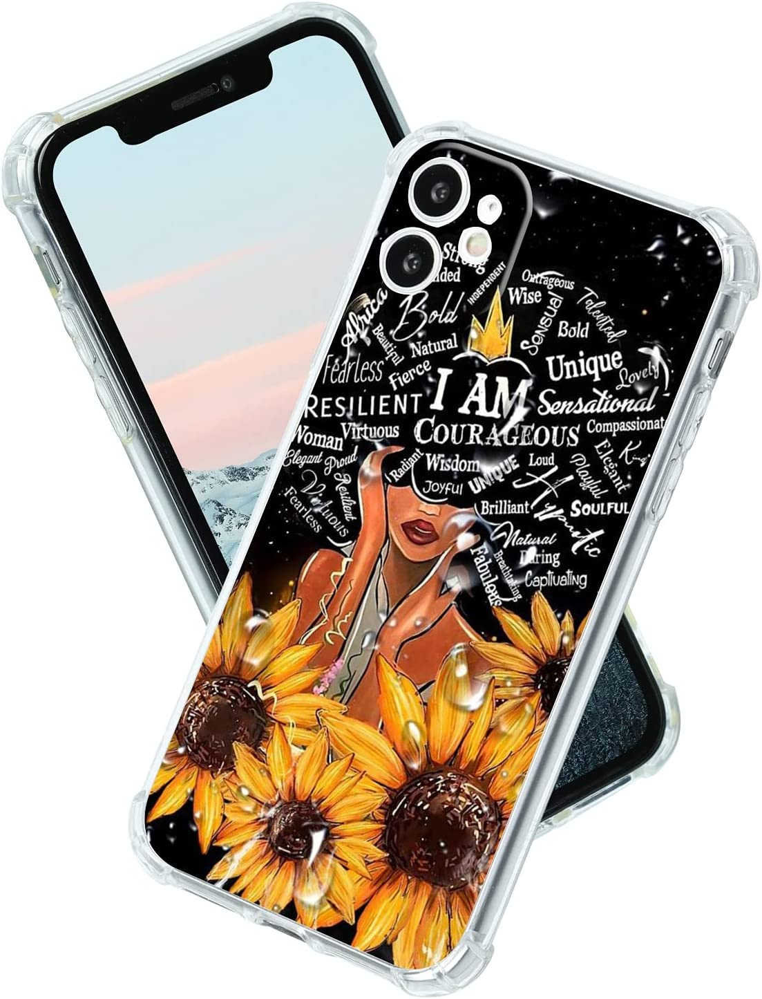 for iPhone 11 Case Black Girl African American Afro Woman Girls Sunflower,Cover Case for Women Girls,Clear Soft Slim TPU Protective Case,Anti-Scratch Bumper Protection Back Phone Case