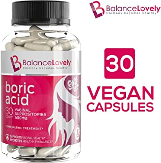 Boric Acid Suppositories -100% Pure Boric Acid -600mg in Vegan Capsules- Supports Feminine Hygiene & Vaginal pH - Treatment of Yeast Infections, Bacterial Vaginosis & Relieve Pain, Dryness