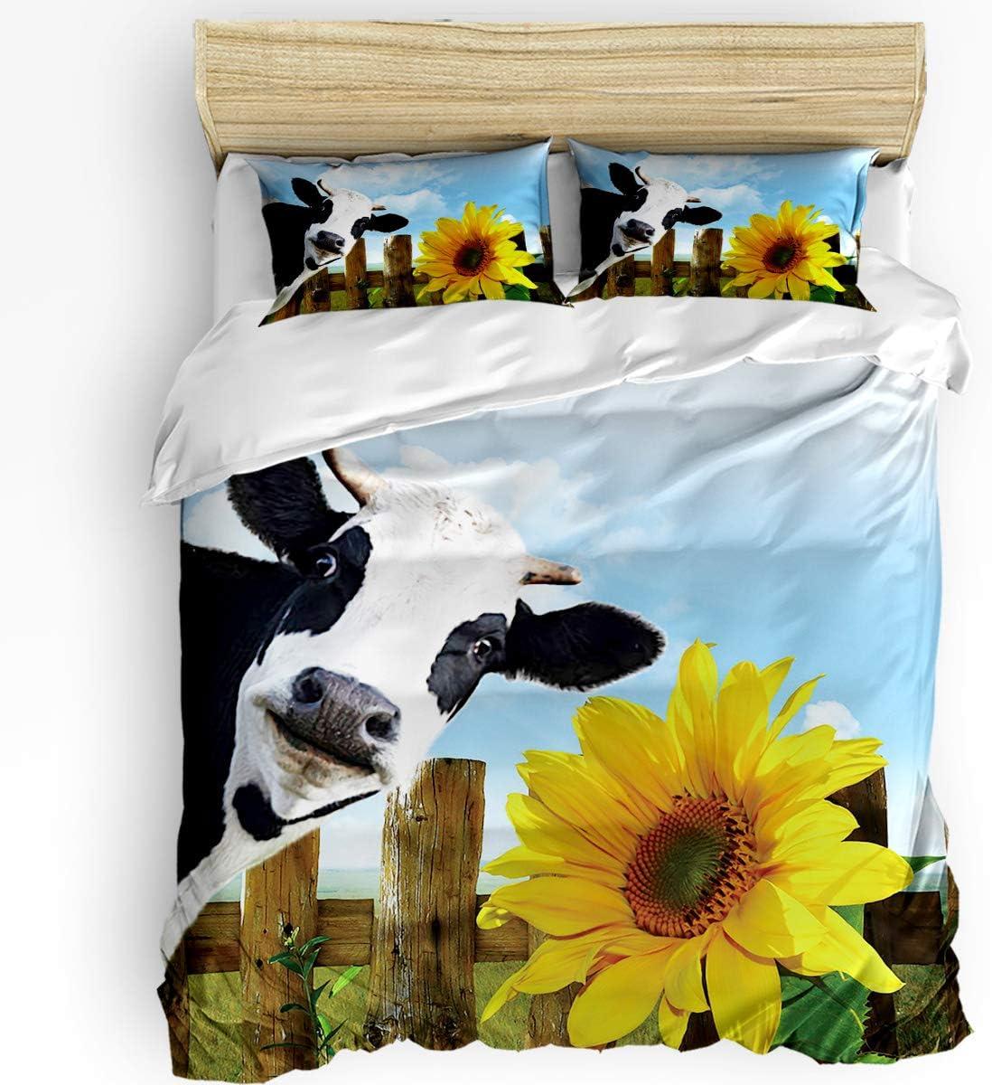 Outlet SALE SUN-Shine Max 72% OFF 3 Pieces Bedding Duvet Cover Animals Sun Farmhouse Set