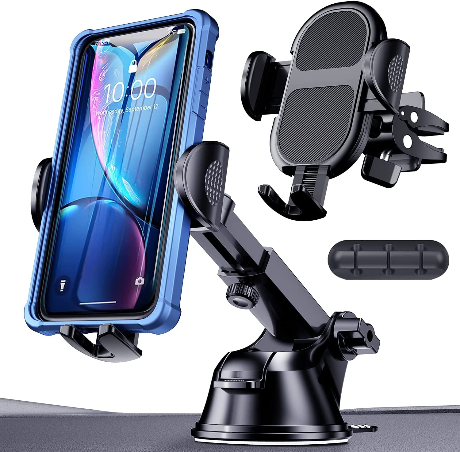 Car Phone Holder Mount, HanCenDa [Thick Case & Big Phone Friendly] 360°Rotation Phone Mount for Car Dashboard Windshield Air Vent Clip Cell Phone Holder Car Suitable for iPhone, Samsung All Smartphone