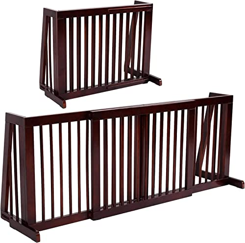 new arrival Giantex Expandable discount Wood Dog Gate, 28''-80'' Adjustable Freestanding Pet Gate Step Over Fence, Indoor Safety Gate for Small to Medium Sized Pets, House Doorway Stairs Extra popular Wide Pet Safety Fence online