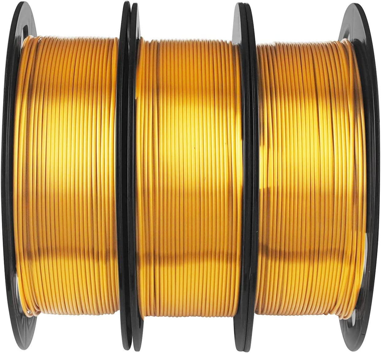 Shiny Silk Gold PLA Filament Bundle - 1.75mm 3D Printer Filament Each Spool 0.5kg, 3 Spools Pack, Total 1.5kgs 3D Printing Material with Extra Gift Stick Tool by MIKA3D