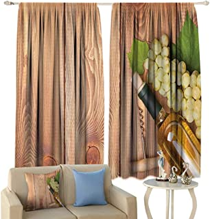 Winery Decor Curtains, Wine Bottle and Bunch of Grapes On Wooden Table Background Romantic Italian Dinner Theme Window Draperies for Living Room Bedroom 2 Panels Set, 72