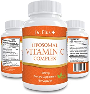 高濃度ビタミンC サプリメント 1500mg リポソーム180 カプセル [3ヶ月分] /Liposomal Vitamin C 1500mg 180 Caps 3month Dr Plus ドクタープラス Made in USA 海外直送品