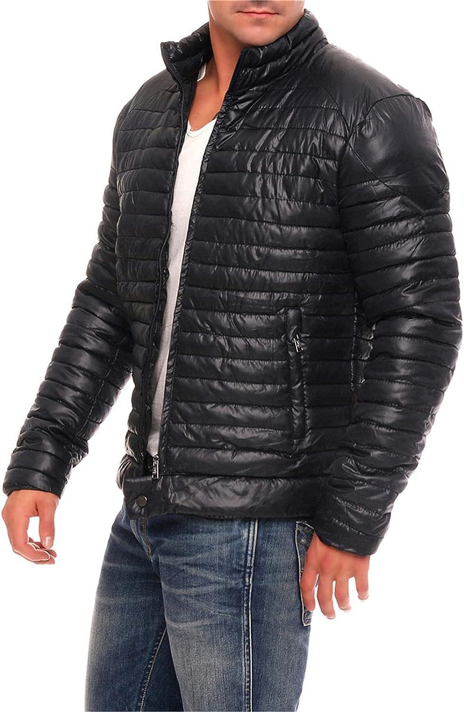 Men Lightweight Down Jacket Coats Winter Warm Full-Zip Puffer Coat Hooded Feather Jacket