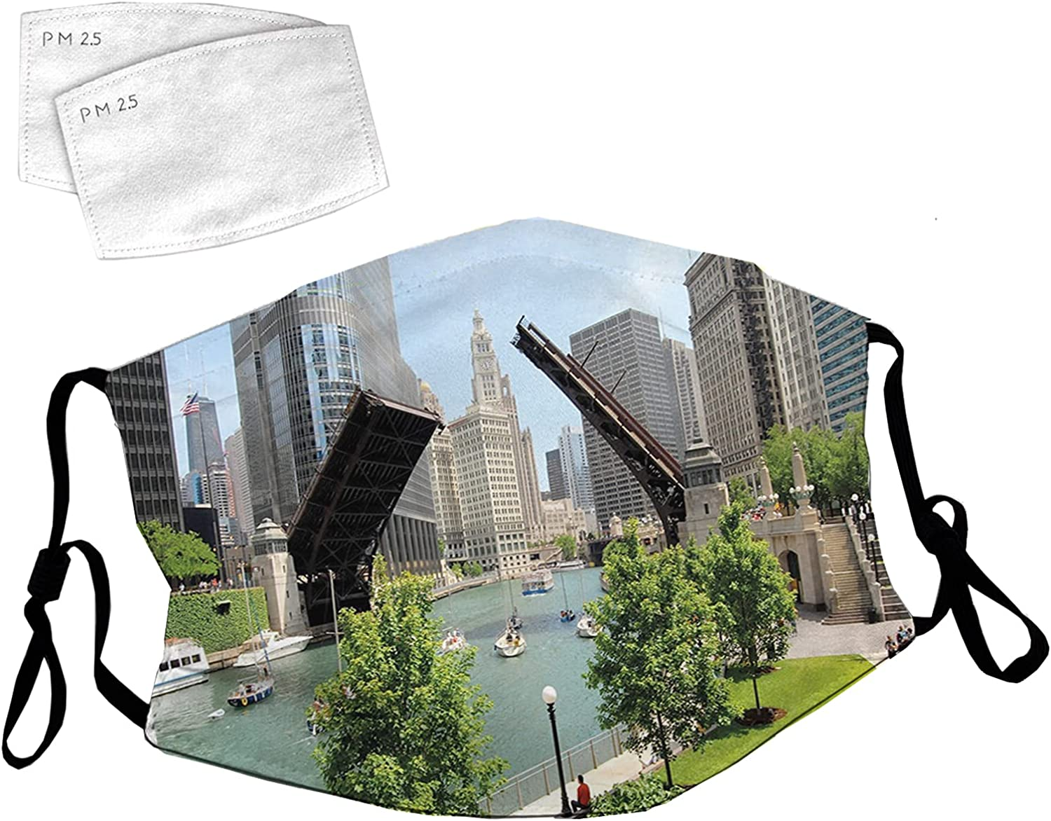 Reusable New Sales results No. 1 product Face Mask with Adjustable Il Loops Downtown Chicago Ear