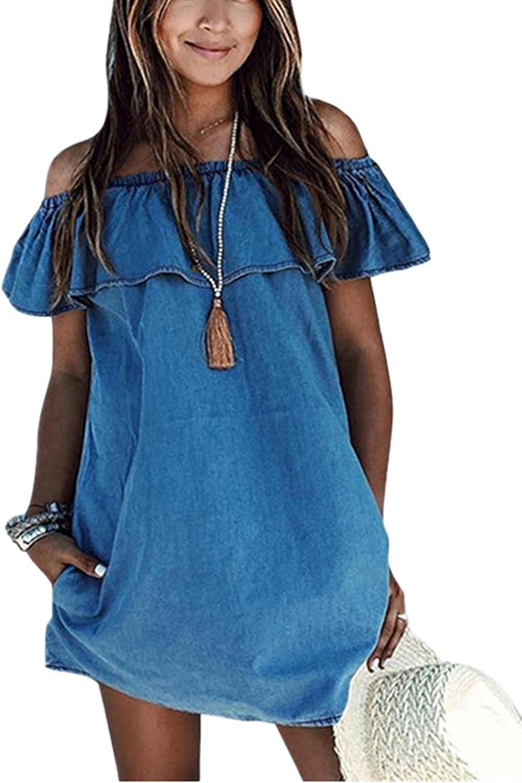 ABD Women's bluee Jean Legging Off Shoulder Ruffle Short Sleeve Loose Denim Mini Dress with Pocket