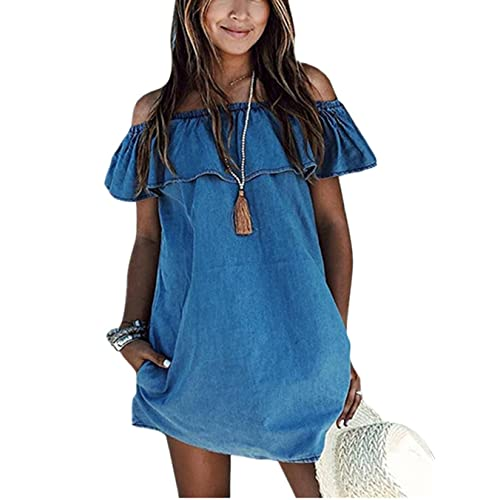 a9b54b187c3 ABD Women s Blue Jean Legging Off Shoulder Ruffle Short Sleeve Loose Denim  Mini Dress with Pocket