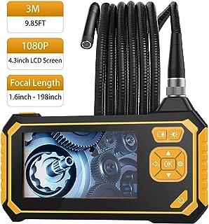 MoKo Endoscopio Industrial, Cámara de Inspección – 3m Endoscópica Impermeable con Pantalla LCD en Color, Boroscopio de Mano Semirrígido 1080P HD con 6 LED, Cámara Snake con Batería de Litio de 2600mh