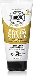 Magic Razorless Cream Shave Bald Head 6 Ounce Tube (177ml) (6 Pack)