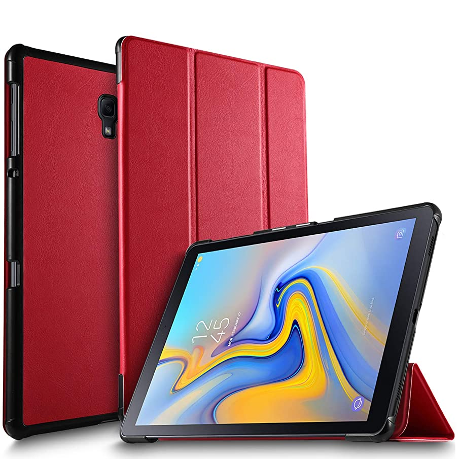 IVSO Case for Samsung Galaxy Tab A 10.5, Ultra Lightweight Protective Slim Smart Cover Case for Samsung Galaxy Tab A 10.5 2018 Release SM-T590 (Wi-Fi)& SM-T595 (LTE) Tablet (Red)