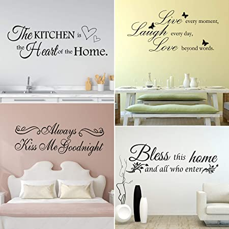 4 Sheets Vinyl Wall Quotes Bless This Home And All Who Enter Vinyl Wall Stickers Quotes Inspirational Decals Kitchen Wall Stickers Motivational Wall Quote Sayings For Home Decors Amazon Com