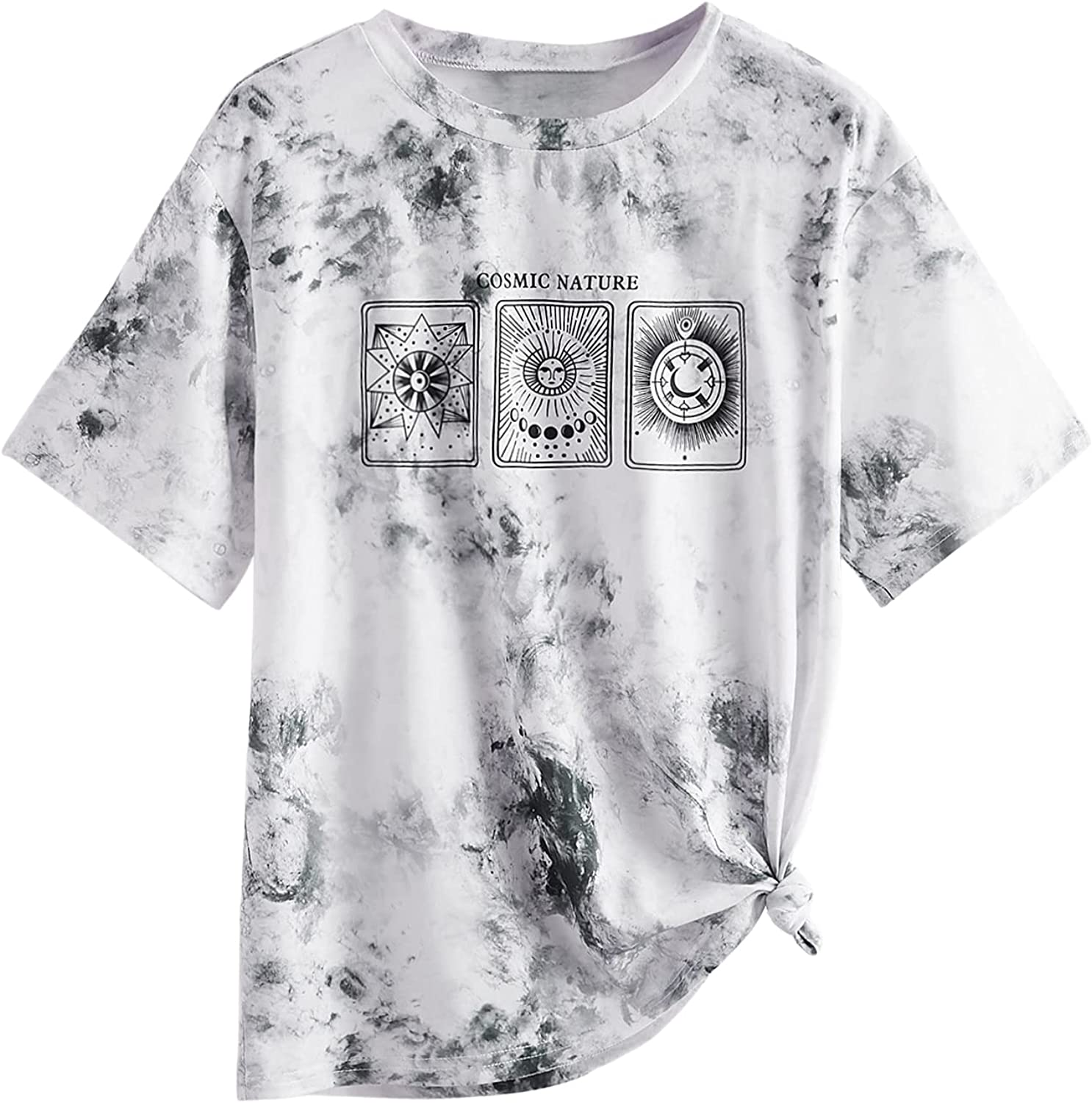 SOLY HUX Women's Tie Dye Short Sleeve Tee Casual Letter Print T Shirt Top