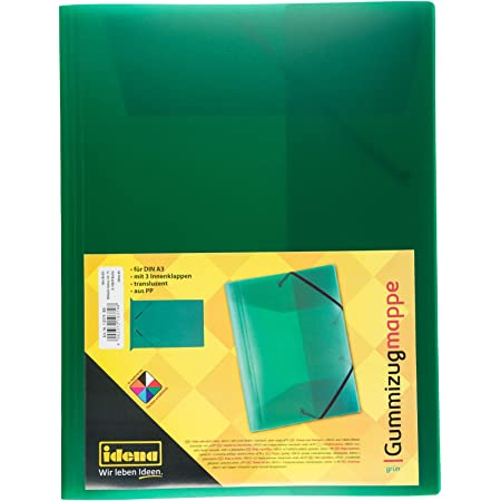 Idena–Carpeta de gomas DIN A3, color verde translúcido