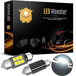 LED Monster 2-Pack Super Bright White 6SMD Canbus Error Free 36MM LED Festoon Bulbs 2835 Chipset for Car Interior License Plate Dome Courtesy Lights 6411 6418 C5W 1.50 6000K Xenon White