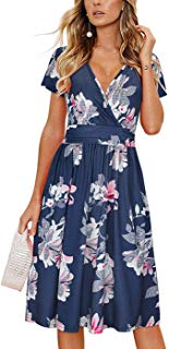 Women's Summer Short Sleeve V-Neck Floral Short Party Dress Modest Midi Dress with Pocket