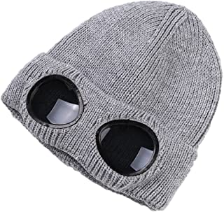 Unisex Wool Knitted Goggles Beanie, Warm Winter Stylish Hat Autumn Outdoor Sports Cap Fashion Womens Indoor Leisure Heat Keeper Ear Snow Cold Protector