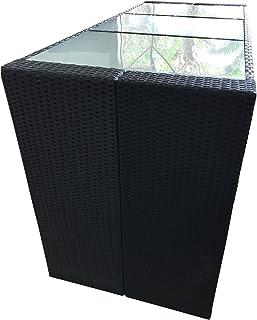 Davos Bartafel, polyrotan, zwart, 185 x 80 x 110 cm, tuinbar, toonbank, tafel