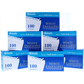 4 Pack of 80 Per Pack 573-24P BAZIC No.6-3//4 Peel and Seal Security Envelope White