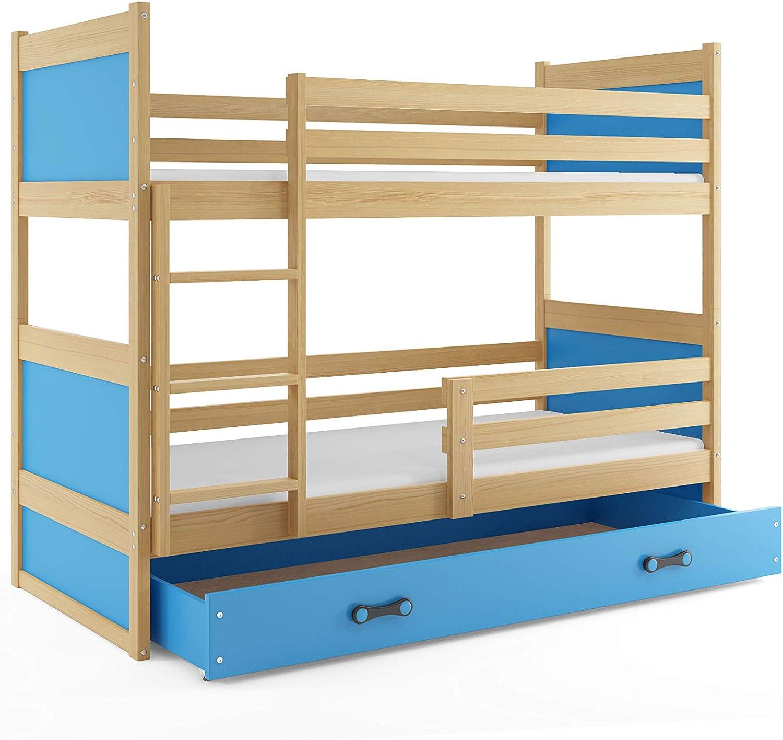 Kiefer mit Lattenroste und Matratzen Interbeds Etagenbett Rico 160x80cm Farbe Blau