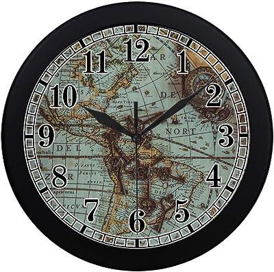 Interestprint Retro Vintage Nautical Compass On Ancient World Map Modern Wall Clock Silent Non Ticking Quartz Frame Large Number Wall Clock Decorative Indoor Kitchen Black Home Kitchen