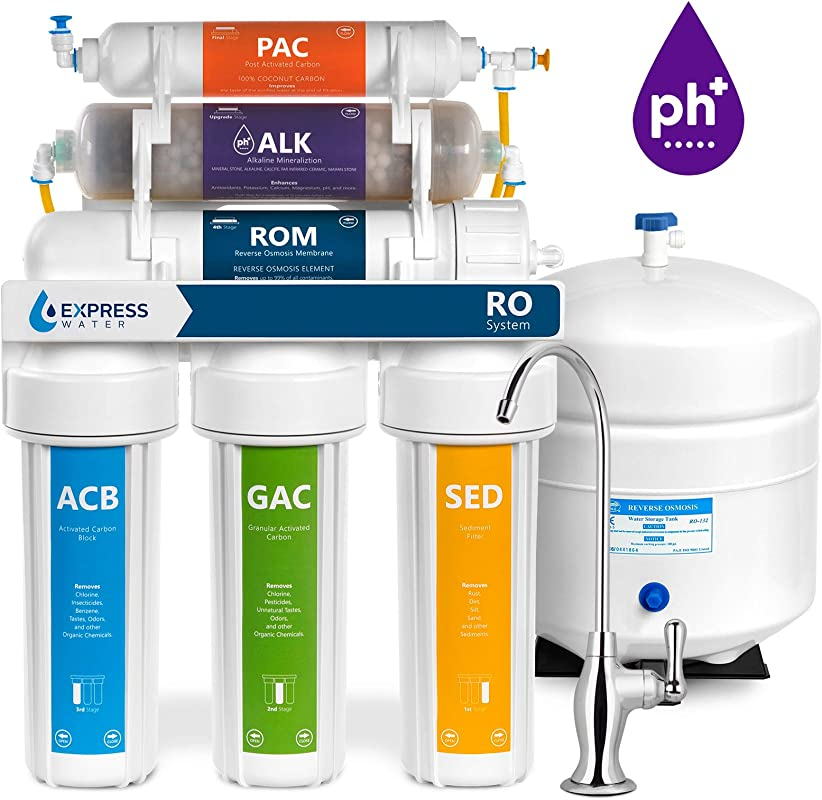 Express Water Alkaline Reverse Osmosis Water Filtration System 10 Stage RO Mineralizing Purifier Mineral PH Antioxidant Under Sink Water Filter With Remineralization 50 GDP