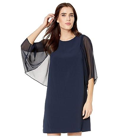 Halston Blouson Sleeve Dress (Dark Navy) Women
