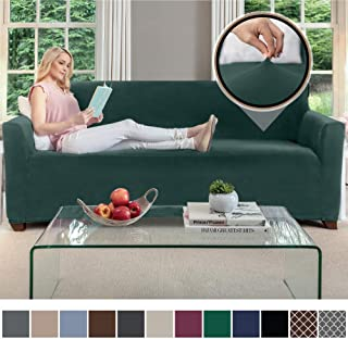 Gorilla Grip Original Velvet Fitted 1 Piece Sofa Slipcover, Stretch Up to 70 Inches, Soft Velvety Covers, Luxurious Couch Slip Cover, Spandex Sofas Furniture Protector, with Fasteners, Hunter Green