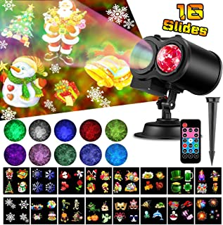 Elec3 Ocean Wave Christmas Projector Lights,16 Slides 2 In 1 Moving Pattern Projection lights Landscape Lights Waterproof Outdoor Indoor for Holidays Halloween Parties Decoration