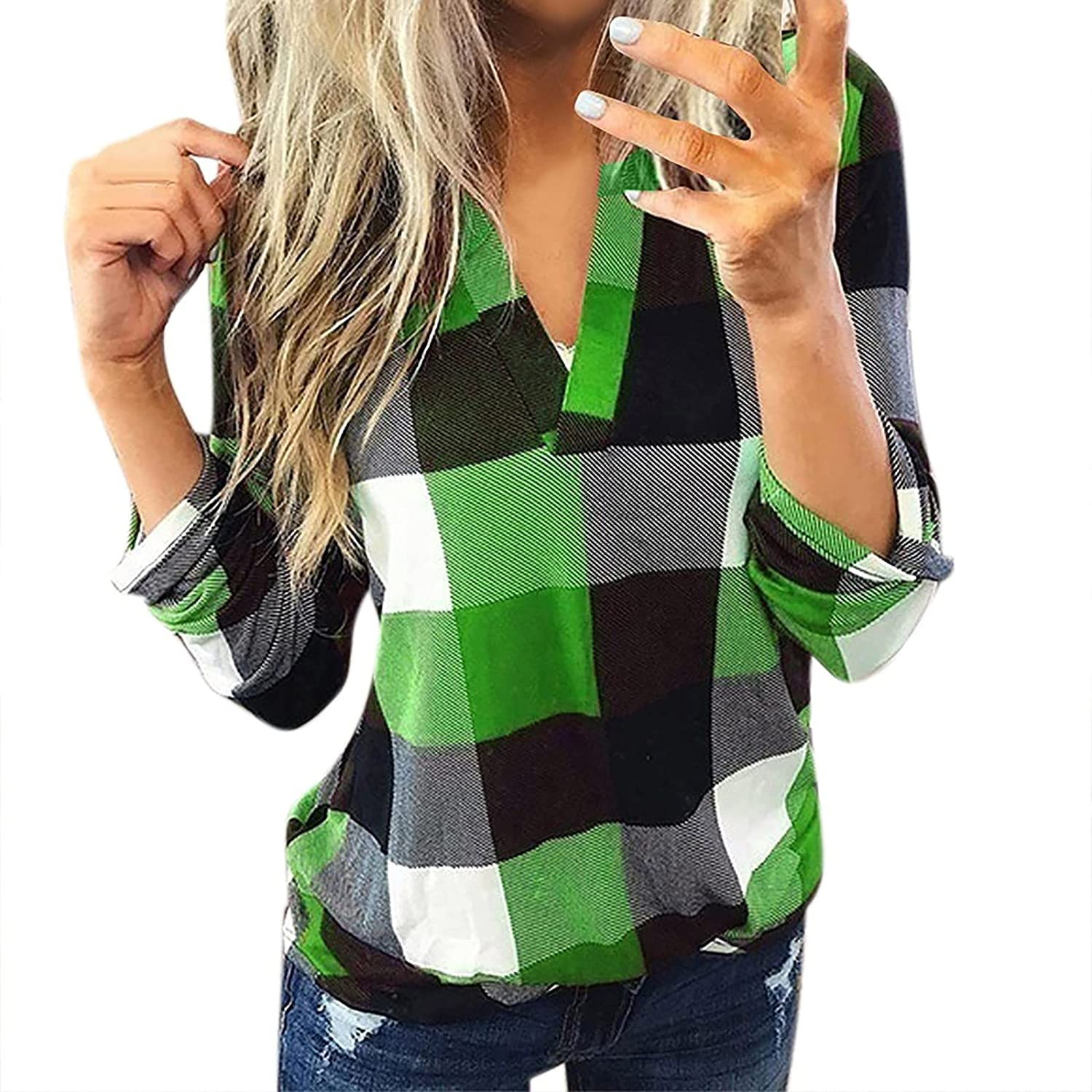 Women's Classic Plaid Shirt V-Neck Stand-up Collar Colorblock Print Pullover Slim Roll Up Long Sleeve Cuffed Blouse