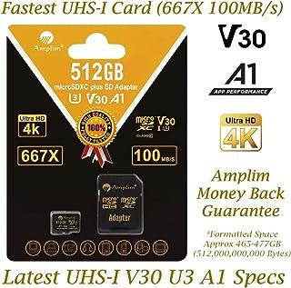 Amplim 512GB microSDカード アダプターパック付き - 512GB SDXC Class 10 U3 A1 V30 エクストリームプロ 速度100MB/秒 UHS-I UHS-1 TF XC microSDXC メモリーカード...