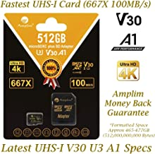 512GB Micro SD SDXC Card Plus Adapter Pack. Amplim 512 GB MicroSD Card Pro V30 A1 Class 10 U3 Extreme Speed 100MB/s UHS-I TF MicroSDXC Memory Card for Cell Phone Nintendo Galaxy LG Fire Gopro Camera