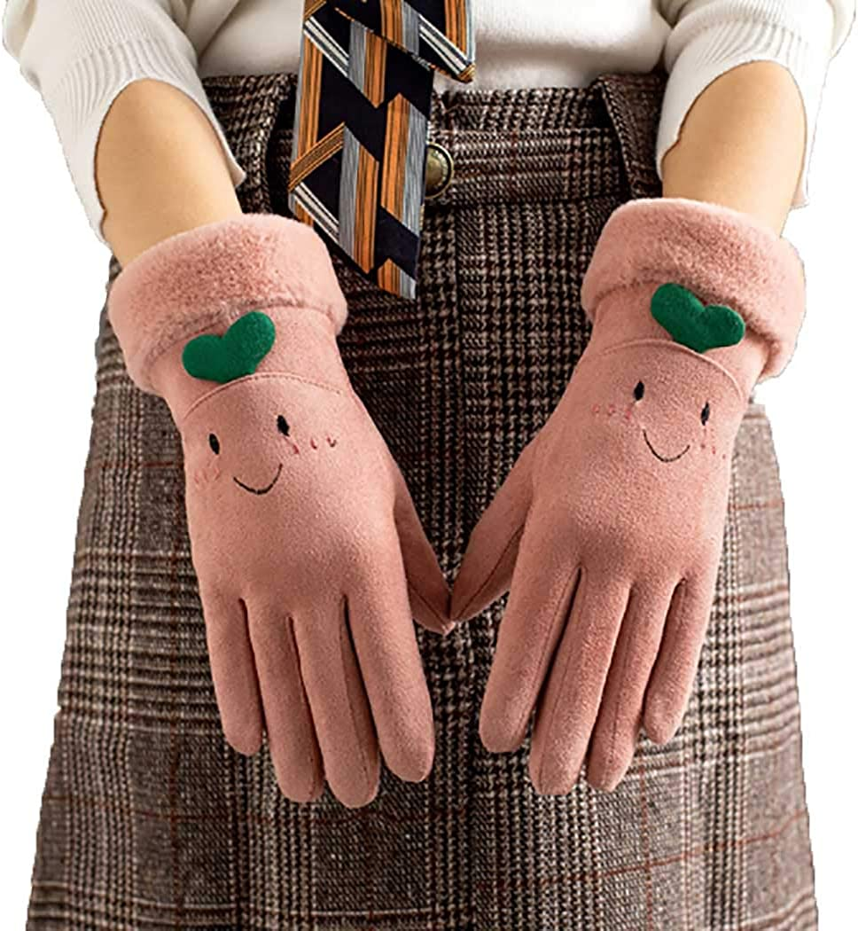 Woeoe Soft Plush Warm Gloves Pink Thick Windproof Suede Gloves Fleece Lined Texting Winter Touchscreen Gloves for Women and Girls