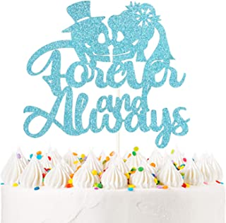 Forever and Always Cake Topper Blue Glitter Mr and Mrs Skull Wedding Cake Topper Halloween Party Decorations Day of the Dead
