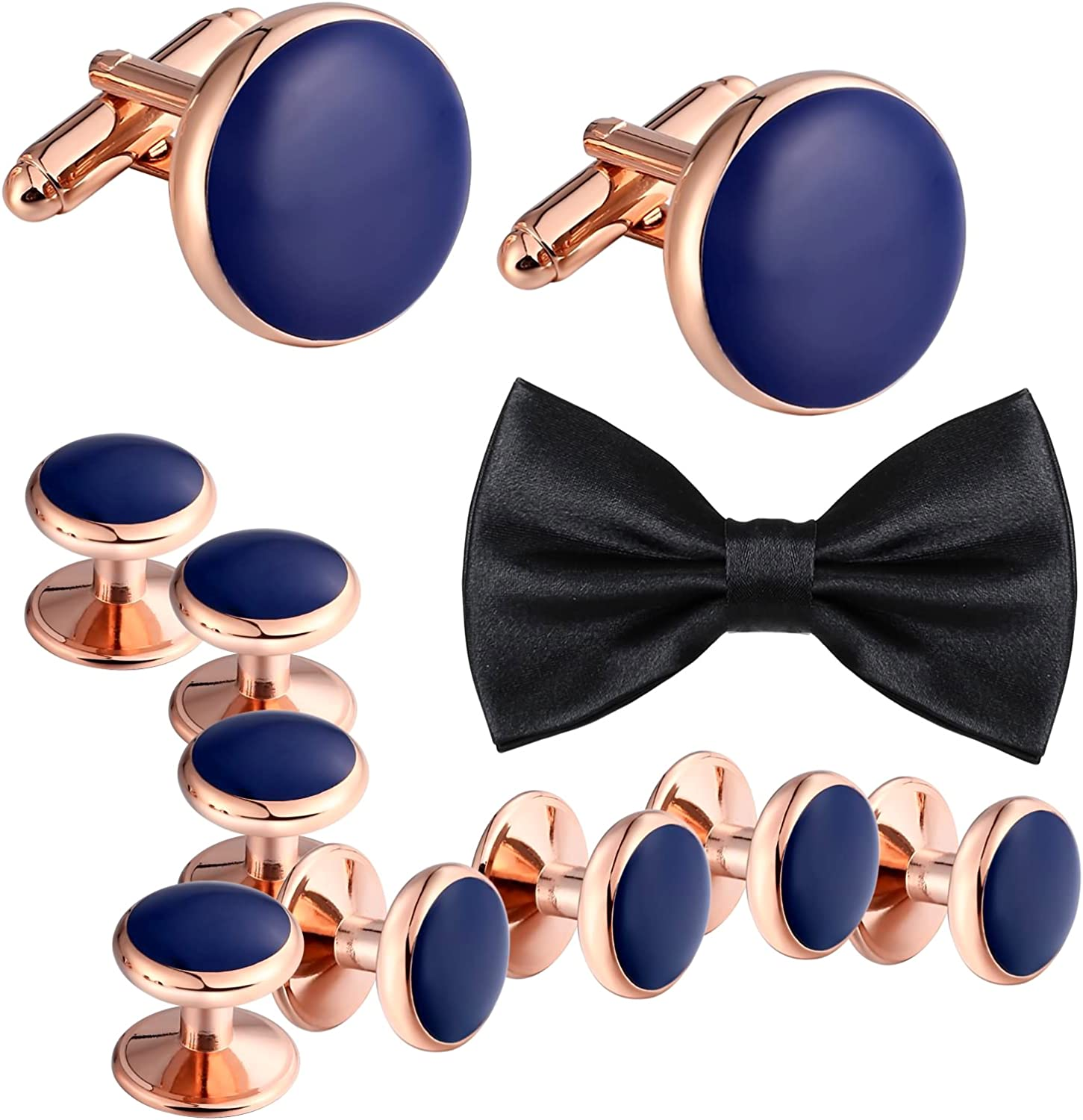 Aienid Stainless Steel Men's Cufflinks and Studs Set Bowtie Black Anniversary Business Classic