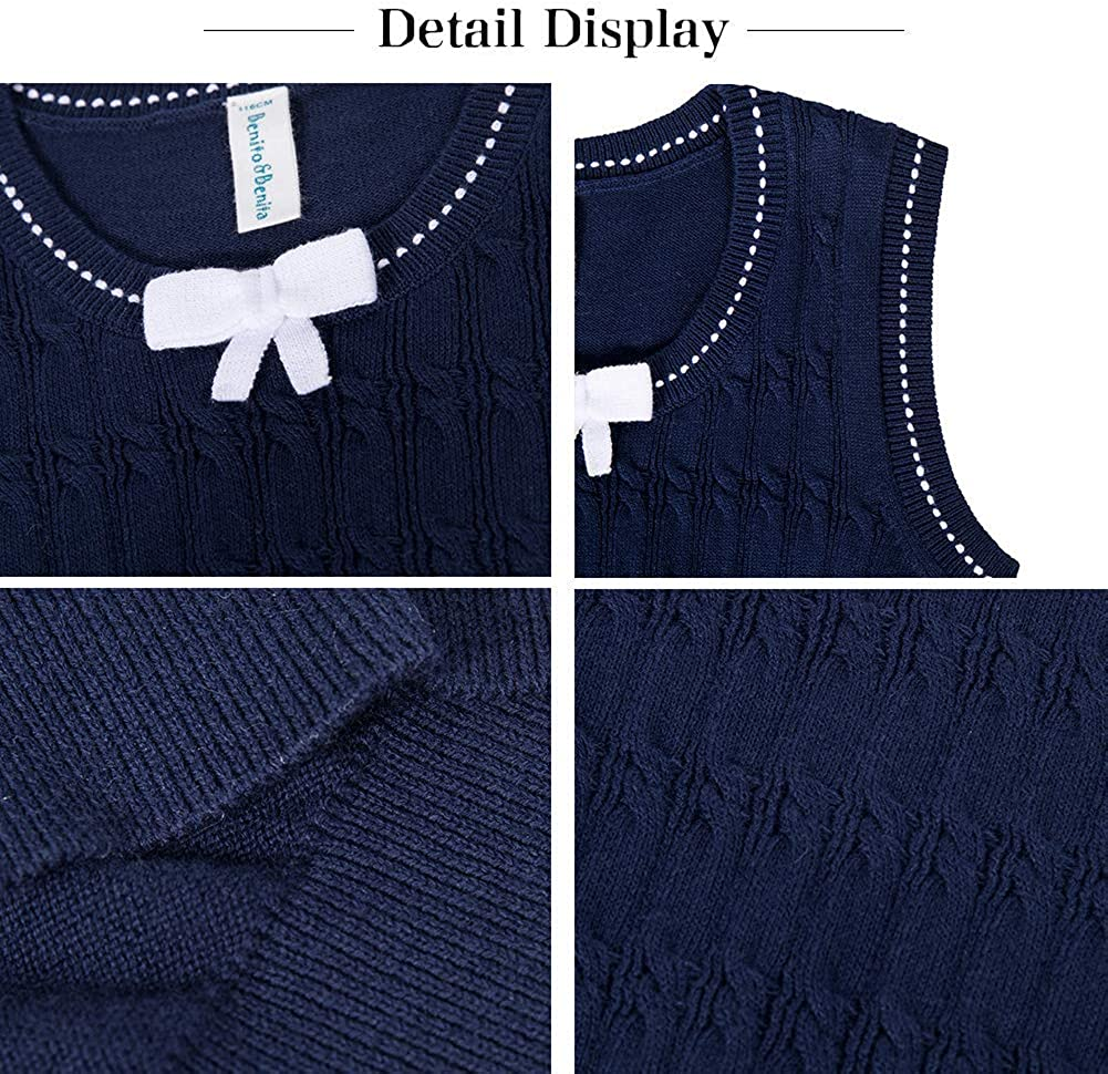Benito /& Benita Girls Sweater Vest School Vest V-Neck Uniforms Cotton Pullover with Bows for Girls 3-12Y
