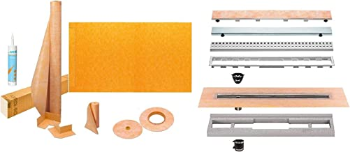 Schluter Kerdi-Line Shower Kit with 36in x 72in Shower Tray (KSLT915/1830S) and Linear Drain - 28 Inch Off-set Channel Body, and Stainless Steel Tileable Grate