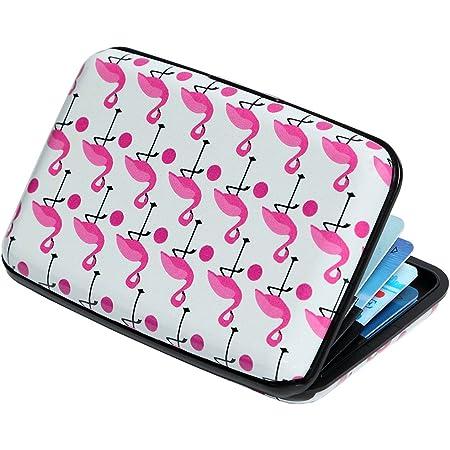 Credit Card Holder Aluminum Wallet RFID Blocking Slim Metal Hard Case (Pink Flamingos)