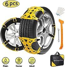 Kozart Snow Chains, 6 Pcs Emergency Tire Chains for Pickup Trucks/Cars/SUV/ATV, Universal Anti Slip Snow Chains Thickened ...